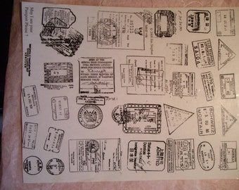 29 Faux passport cancellations Rubber stamps un-mounted scrapbooking rubber stamping