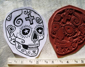 Dia de Los Muertos  Day of the dead skull No.3  rubber stamp un-mounted scrapbooking rubber stamping