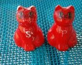 Vintage Brinn's Red Cat Salt & Pepper Shakers