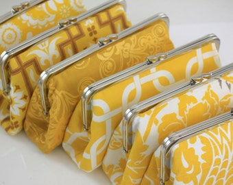 Yellow Bridesmaid Clutches / Wedding Clutches Choose your Fabric Yellow - Set of 8