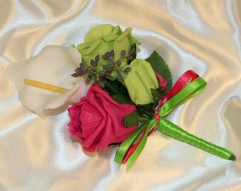 CHLOE corsage - hot pink and lime green roses with ivory lily and viburnum berries