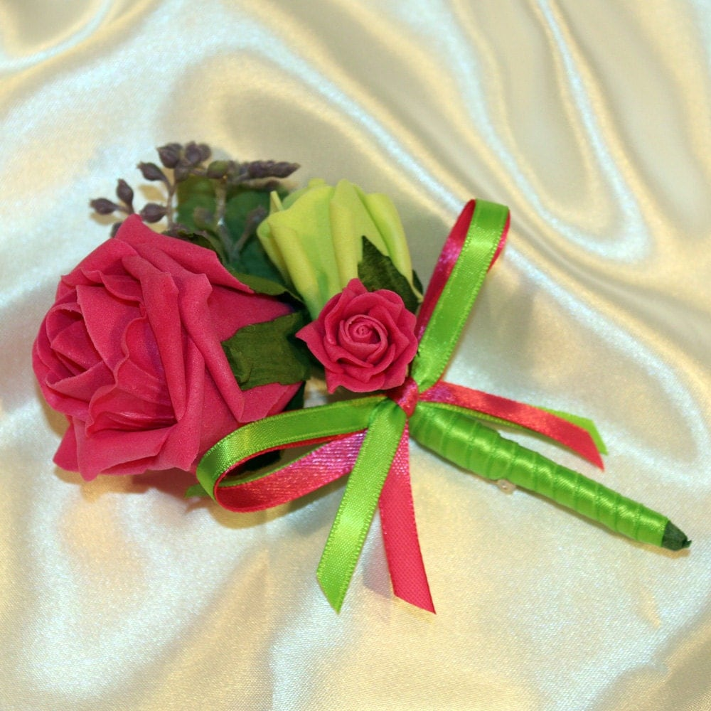 Green And Pink Roses CHLOE buttonhol...