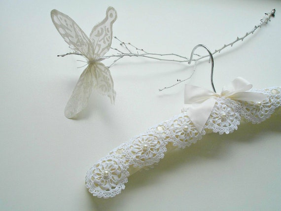 Wedding Dress Hanger With Vintage Handcrocheted Doilies And Pearls, Bridal Hanger