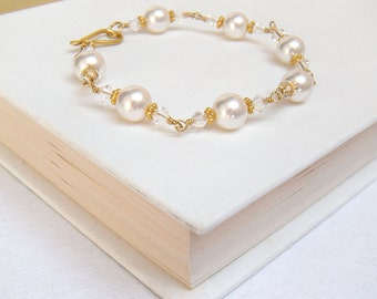 Pearl Bridal Bracelet, Bridal Bracelet Gold, Bridal Party Jewelry, Wedding Jewelry - Georgiana Luxe Gold