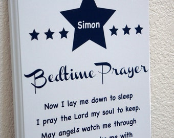 Personalized Name Bedtime Prayer - Now I lay me down to sleep.  Wood sign plaque 11x14