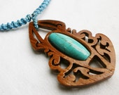 "Handmade Engraved Teak Wood Pendant with turquoise stone from Thailand Tradition style ""PAS001"""