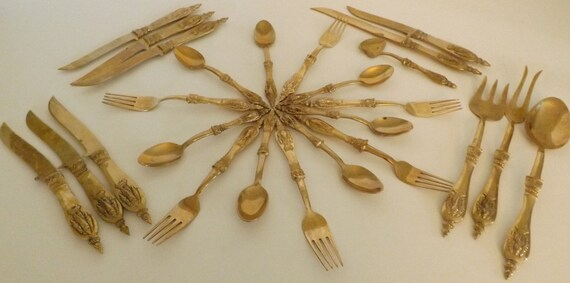 ORNATE Vintage Thailand Elephant Buddha Solid Brass Flatware & Cutlery Set - 25 Pieces with Case