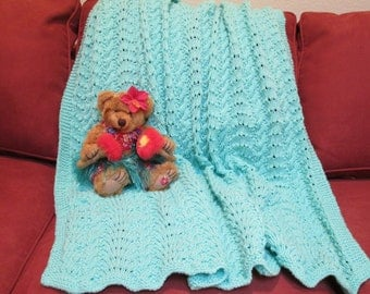 Hand Knitted Pastel Green Baby Afghan in Feathers and Fans Pattern