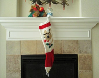 Hand Knitted Rudolph Christmas Stocking