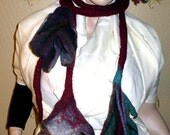 Handmade wool felted boiled Tropical Flowers necklace scarf collar belt shawl Lagenlook LIA design