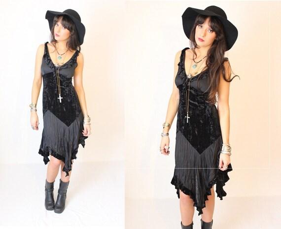 Vintage Black Velvet Mix Asymmetric Hemline Dress