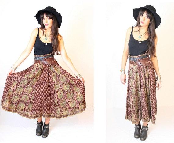 Vintage Indian Cotton Maxi Hippy Gypsy Boho Skirt