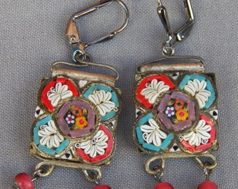 Vintage Recycled Micro Mosaic Drop Dangle Earrings