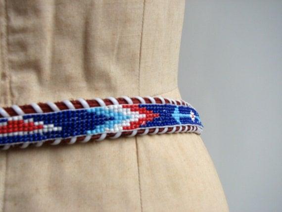 Vintage Beaded Leather Belt / 1980s Southwest Native American Inspired