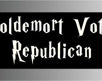 Anti Republican Voldemort Votes Republican Bumper Sticker Decal