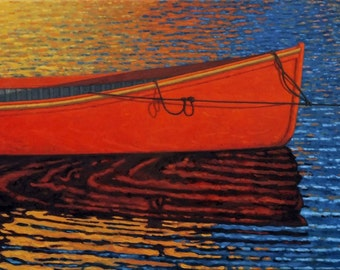 """The Red Boat 7.5"""" x 15"""" Image on 11"""" x 17"""" paper by Paul Hannon  FREE SHIPPING Canada & US"""