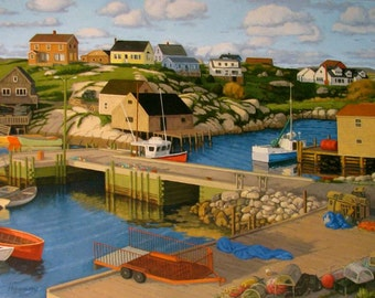 "Early Evening, Peggy's Cove, 5"" H x 10"" W, Offset Print by Paul Hannon, FREE SHIPPING Canada & US"
