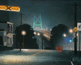"Bridge in Wet Fog, 6.5"" H x 10"" W, Offset Print by Paul Hannon, Free SHIPPING Canada & US"