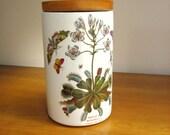 """Vintage Portmeirion Canister Jar, Botanic Garden 8"""", Storage, Wood Lid Venus's Fly Trap"""