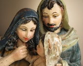 Vintage Large Religious Figurine or Statue, Baby Jesus, Mary and Joseph