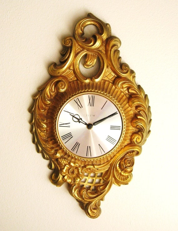 Vintage Wall Clock, Mid Century, Hollywood Regency, Ornate, Dark Gold, made by Elgin