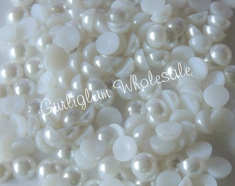 6mm White Flatback Pearl - 100 pcs, flat back pearls