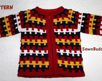 Cardigan / sweater for girls or boys - Size 1-2 years - Pattern -  pdf file - Crew neck or Hooded sweater - Instant Download PDF File