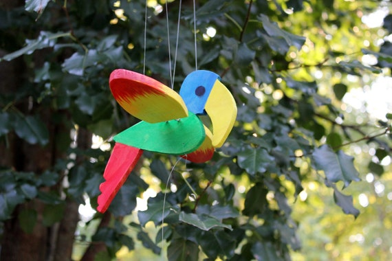 Mobile Wooden Bird Flying Toucan Kinetic Mobile Toucan With