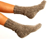 """MEN WOOL SOCKS """"Touring back roads"""".  Hand knitted from natural grey sheep wool yarn. Great for hiking"""
