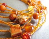 Women's Orange Brown Red Yellow Golden Autumn Sunset Multiple Thread Necklace