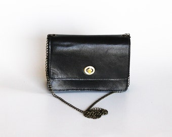 black leather handbag small leather purse black bag Evening