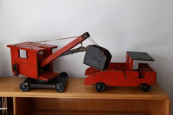Vintage Folk Art Steam Shovel and Truck, 1930s Wooden Steam Shovel and Truck