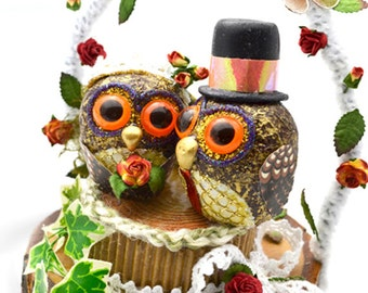 Wedding Cake Topper,Bride and groom Owl cake topper, Little Owls country wedding- custom orders available