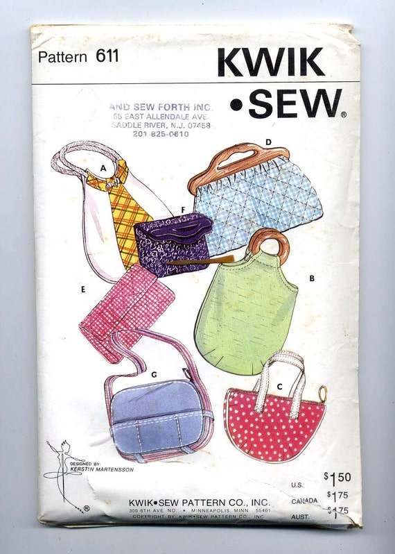 Vintage Kwick Sew Pattern  No 611  Purses and Bags  7 Views