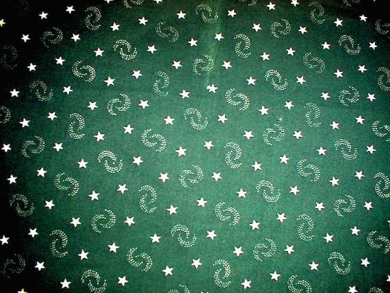 Marcus Bros Textiles  1 yard Dark Green Fabric with white stars Swirling Mini  Moons