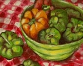 Still Life Green Bowl With Peppers  5 x 7 Greeting Card