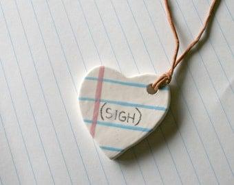 Sigh Heart Shape Notebook necklace