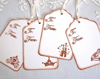 Disney Princess Wish Tags -Set of 8, To and From Assorted Princess/ Cinderella Gift Tags (Bridal Shower/ Sweet 16/ Birthday, Favor Tags)