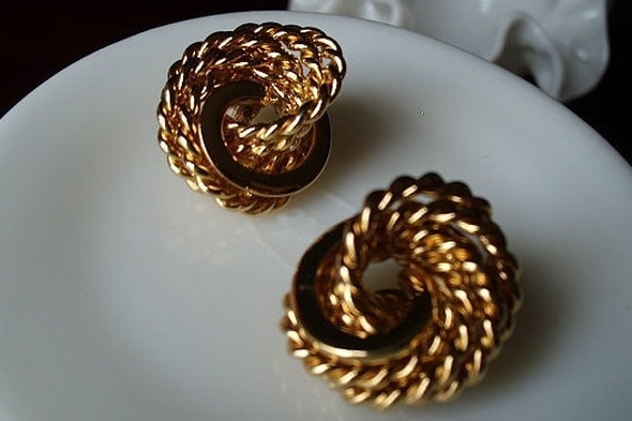 Signed Monet Large Gold Knot Rope Earrings - Nautical Classic Chic