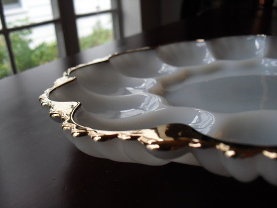 Vintage Gold and Milk White Glass Deviled Egg, Oyster, Relish Tray