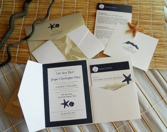 Beach theme 5x7 Pocket-Fold Wedding Invitation in Navy, Tan, and White