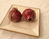 Rosh Hashana Decor.  A set of two Decorative Ceramic Pomegranates.  Perfectly fits as a kitchen art or dinner table decor.