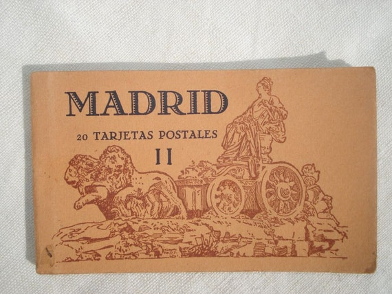 Vintage Old Illustrated Postcards from Madrid, Spain, 1940's