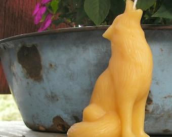 Howling Wolf Beeswax Candle, Cinnamon Beeswax Candle, or Cinnamon Beeswax Figurine with all natural beeswax