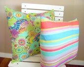 Throw Pillow Cushion Covers Summer Stripe. Set of 2. 18 x 18 and 16 x 16