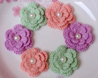 6 Crochet Flowers With Pearls In Lt Coral, Mint, Orchid YH-012