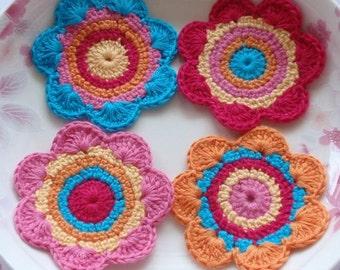 4 Crochet  Flowers In  Pink, Orange, Yellow, Dark Pink YH-021-01