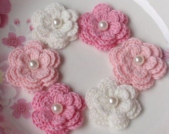 6 Crochet Flowers With Pearls In Off White, Lt pink, Pink, YH-013-02