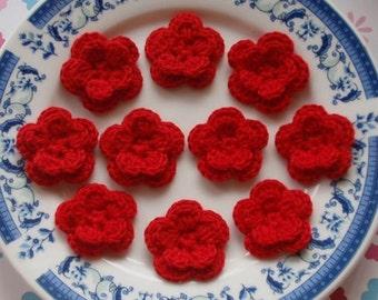 10 Crochet Flowers In Red YH-030-05
