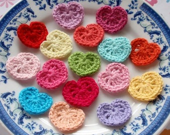 16 Mini Crochet  Hearts In Multicolor YH - 035-02
